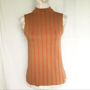 Moth // Orange, Red Stripe Mock Neck Sweater Top